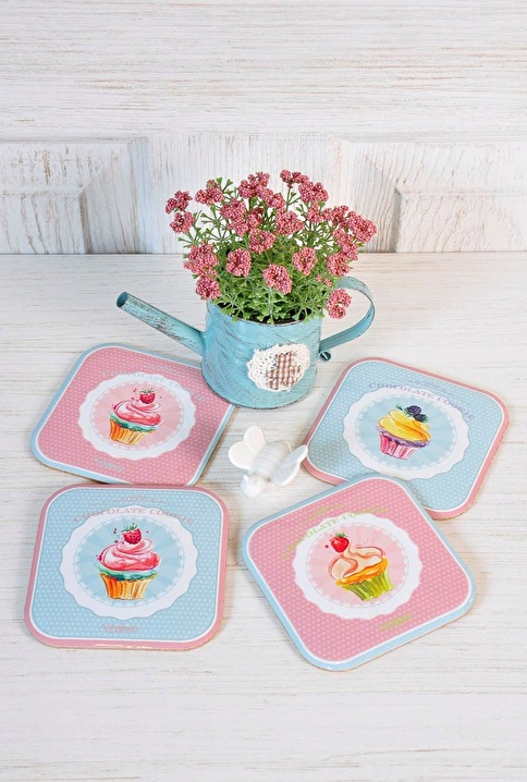 The Mia Bardak Altlığı Cupcake - 4Lü Set Renkli